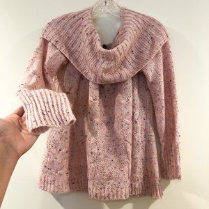 🍁SOHO Jeans Pink Confetti Cowl Neck Knit Sweater